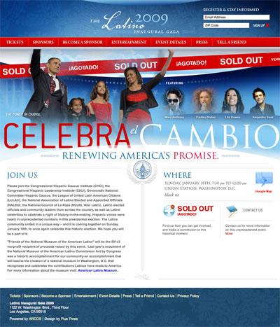 The Latino Inaugural Gala 2009 Website