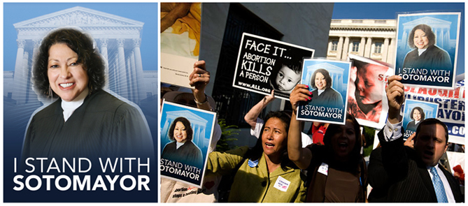 """Activists carry """"I Stand With Sotomayor"""" posters"""